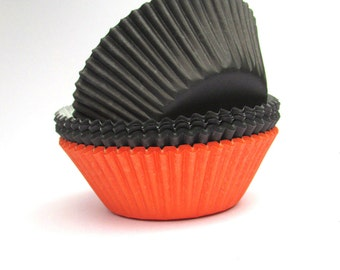 Halloween Party, Cupcake Liners,Halloween, 75 Liners, Baking Cups, Cupcake Papers, Halloween Colors, Wilton Liners, Muffin Liners, Black