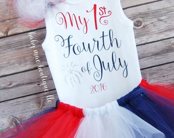 1st Fourth of July Outfit; July 4th Babygirl Outfit; Baby girl 1st Fourth Onesie with Tutu