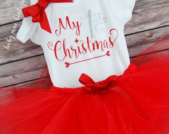 My First Christmas Baby Girl Christmas Outfit; Babies First Christmas Outfit Silver Glitter; 1st Christmas Tutu & Onesies® brand by Gerber®