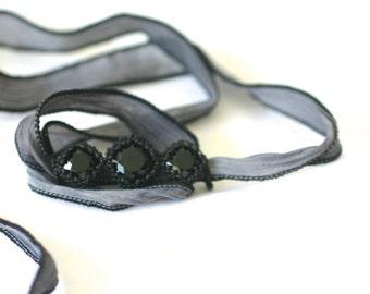 Gray Silk Chiffon Ribbon and Triple Swarovski Crystal Bracelet