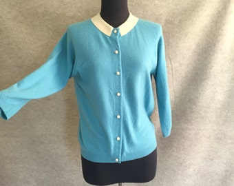 Vintage 50's Powder Blue Cardigan Sweater, Pure CASHMERE, Size Medium, Bust 37, Rockabilly, Mad Men.