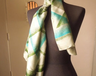 Vintage 70's Scarf, Oblong, by ECHO, Olive Green, Teal, Off White on Gray Green with Abstract Plaid Design.