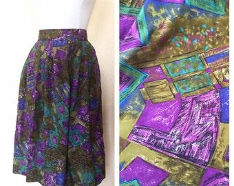 Abstract Multicolored Skirt // Midi Skirt // Katie  Brooke