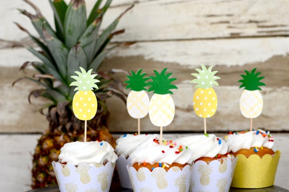Polkadot and Plaid Pineapple Cupcake Toppers - 12 toppers in yellow and green polka dots or plaid