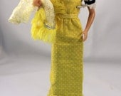 Barbie Clothes Long Sheath Dress Gown Matching Lace Coat Yellow Polka Dot Vintage