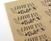 Shop Exclusive Happiness Inside STICKERS- modern hand lettering with honey bee and leaf detail