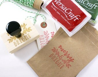 Hand lettered MERRY & BRIGHT Wood Stamp  - calligraphy lettering with pine tree wreath - Christmas and holiday rubber stamp