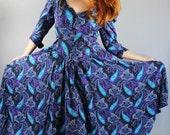 Vintage 80s Women's Purple Blue Paisley Boho Fall Maxi Full Skirt Dress