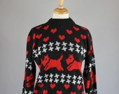 Vintage 80s Womens Black Red Dogs Hearts Design Fall Winter Pullover Sweater