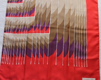 Vintage 70s Women's Red Brown Purple Abstract Design Christian Dior Designer Large Silk Scarf