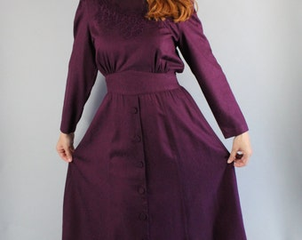 80s Dress, Women's Eggplant Purple Fall Winter Long Sleeve Victorian Revival Steampunk Style Lace Trim Wear to Work Dress, FREE SHIPPING
