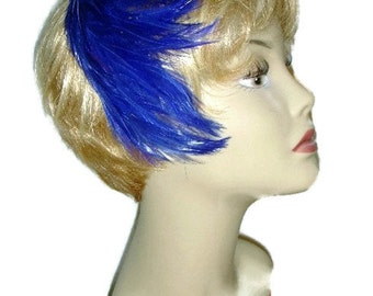 Feather Hair Band Hat - Electric Blue - with Original Box - 1960s