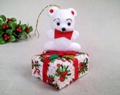 Vintage Christmas Ornament, Cute White Baby Bear or Polar Teddy Bear Figurine Sitting on a Gift Package, Vintage Christmas Decoration