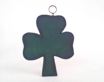 Vintage Rustic Painted Wood Shamrock Clover Ornament, 4 Inch Saint Patrick's Day Decoration