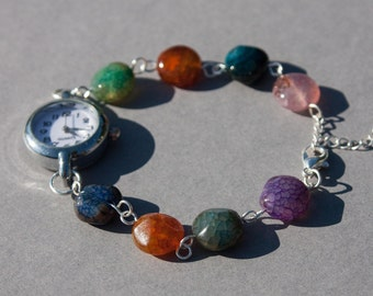 Multi coloured cracked agate bracelet watch, bright coloured womens watch, watch bracelet UK