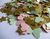 Wedding confetti hearts - Mint green Pink Gold - Paper hearts - 200 die cut - paper heart confetti stars - weddings