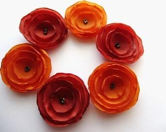 Fabric flowers, Silk flowers, Wholesale flowers, Orange flowers, Burnt flowers, Singed flowers Autumn