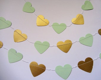 Gold and Mint Green Paper Garland Heart Garland Paper Wedding Garland Birthday Garland Wedding Garland mint green and gold Birthday party