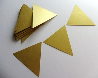35 Gold Flags Triangle Die Cuts DIY Banner Flag Garland Triangle Tags Paper Triangles Scrapbooking