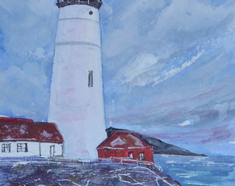 "Watercolor Portland Headlight Lighthouse Cape Elizabeth, Maine  Original Painting Art Home Decor Art by Kellie Chasse 8x10"" Mat"