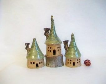 Garden Fairy Houses  -  Set of 3 - Handmade, Wheel Thrown - Ready to Ship - Photo shows Actual Set you would receive