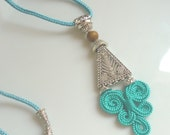 Moroccan tribal necklace, turquoise art silk, boho necklace