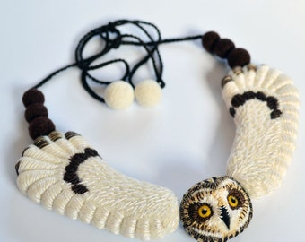 Short Eared Owl necklace, needle felted and embroidered wool art accessory, natural jewelry