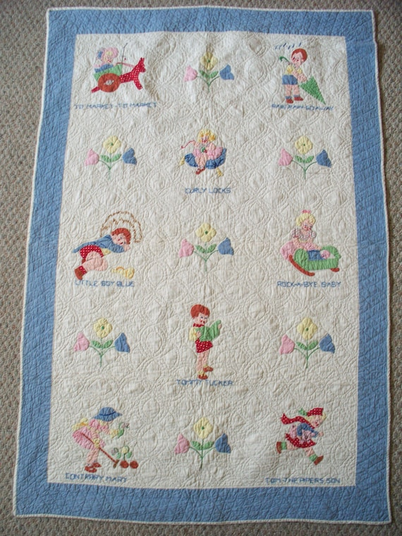1940's Nursery Rhyme Baby Quilt