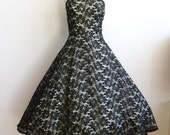 Vintage 50s Formal Dress Black Lace Full Skirt Rockabilly Party Dance Dress