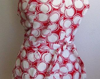 Vintage 60s Red & White Bubble Print One Piece Swimsuit Bathing Suit Playsuit