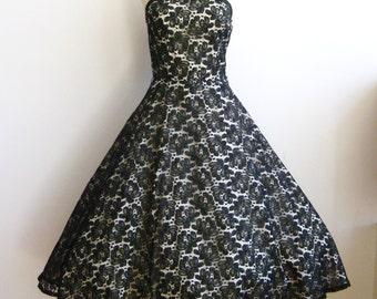 Vintage 50s Formal Dress Black Lace Full Skirt Rockabilly Party Dance Dress