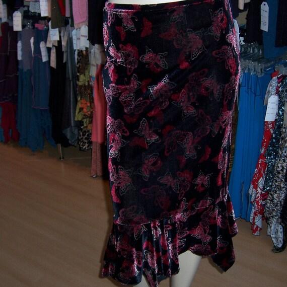 Butterfly Velvet Skirt with gathered design in the bottom plus made in USA (v25)
