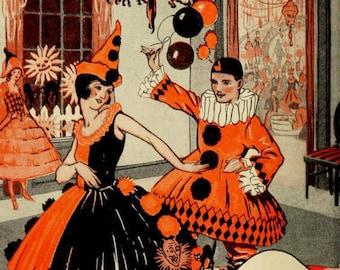 Vintage Halloween Party- Halloween Harlequin - Halloween Clowns - Black Cats and Jack O Lanterns - Digital Download Set of 3