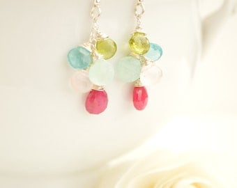 Ruby, Peridot, Apatite, Aqua Chalcedony & Rose Quartz Briolette Cluster Earrings