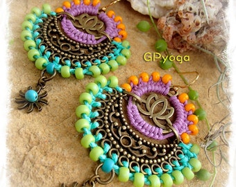 Indie BOHO earrings Yoga Lotus Macrame Bikini jewelry Colorful Summer Turquoise SUN earrings Oriental jewelry festival earrings GPyoga
