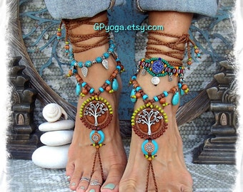 Brown Yggdrasil TREE of life BAREFOOT SANDALS Turquoise Stone Luxurious Leather foot jewelry crochet sandal Earthy Garden Wedding GPyoga