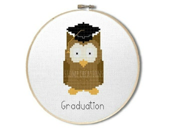 "Graduation cross stitch pattern: ""Graduation owl"" - cross stitch pdf pattern, graduation gift, college/school - Instant Download"