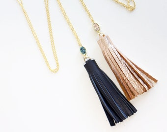 Leather Tassel Long Necklace with Druzy Stone