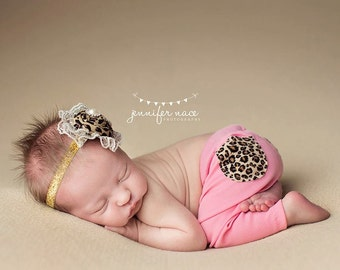 Queen of the Jungle -cheetah leopard animal print and gold rosette headband