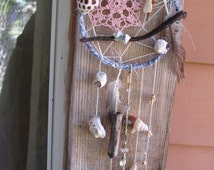 Mermaid Ocean Dreamcatcher, Handmade Seashell Dream Catcher, Shell Windchime