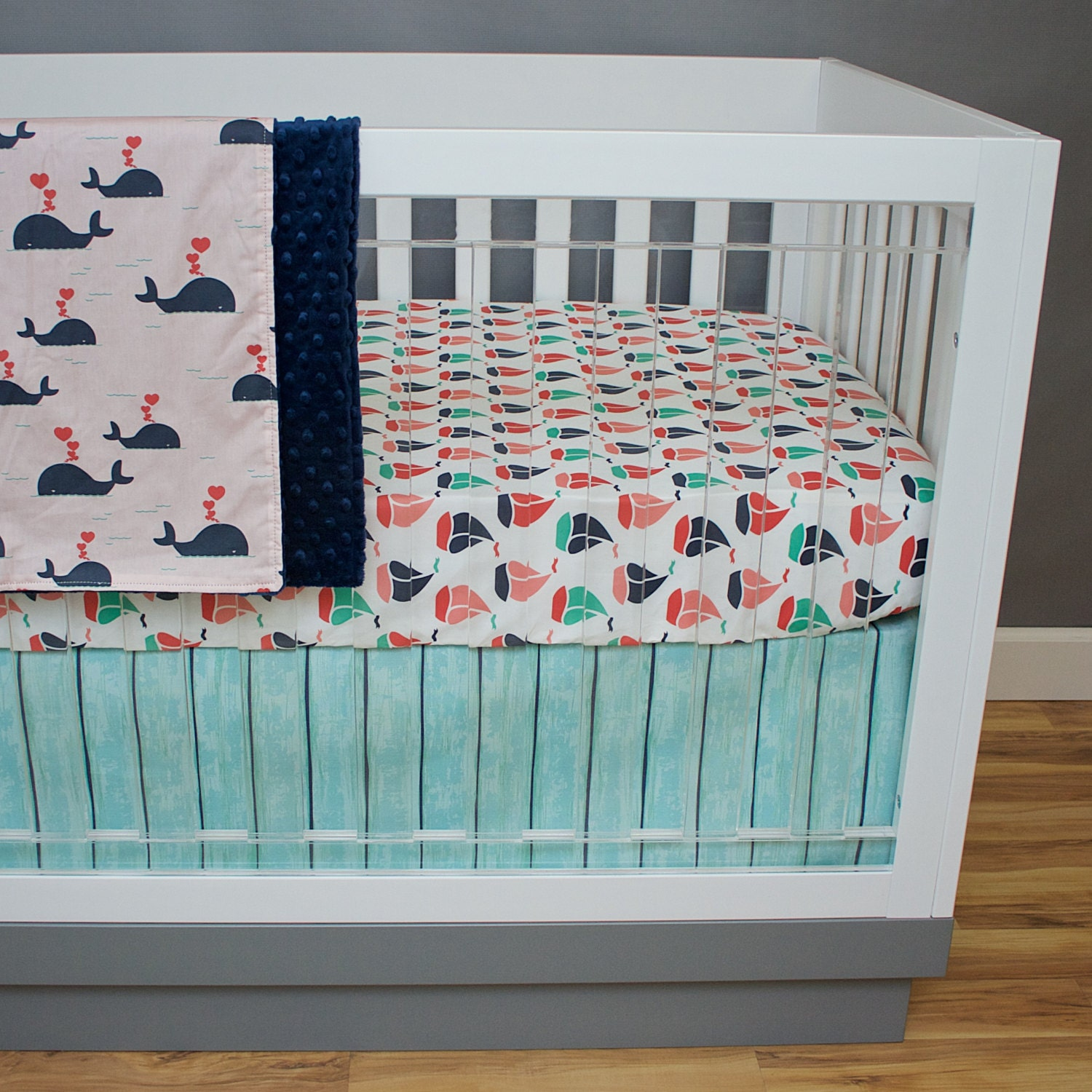 crib bedding nautical girl coral navy mint green pink baby