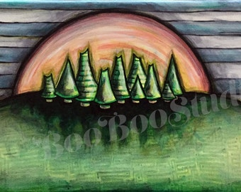 Original Acrylic Painting Sunset Evergreen Trees Small One of a Kind