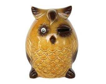 Winking Owl Coin Bank - Yellow and Brown Horned Owl Piggy Bank