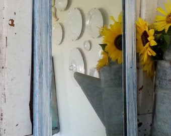 Antique Wooden Mirror - Painted Frame - HEAVY Antique Shabby Chic Style