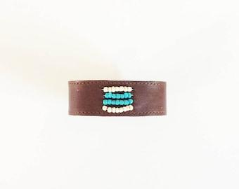 Wearable Technology / Fitbit Flex Bracelet Cream Aqua Beads / Fitbit One / Fitbit ChargeHR / Vivofit / Brown Leather Cuff / Misfit Shine