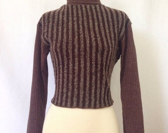 Cute Vintage Sweater Brown 90s Striped Pullover Stretch Knit Top Japanese Jumper Cropped Vintage Shirt Women Size Small to Medium