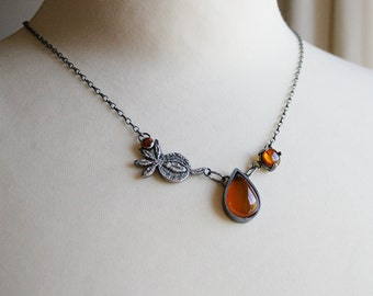 baltic amber, honey chalcedony, orange hessonite garnet and sterling silver botanical necklace - OOAK, ready to ship