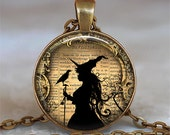 Witch and Raven necklace, Witch and Raven pendant witch necklace witch pendant witch jewelry Halloween jewelry Samhain
