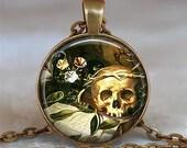 All Hallow's Eve art pendant, Halloween necklace, Halloween pendant, Goth necklace charm, Gothic jewelry, Skull necklace key chain