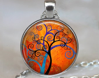 Spiral Tree Art pendant, Spiral Tree Art necklace, blue and orange tree pendant, modern art pendant, colorful tree jewelry key chain